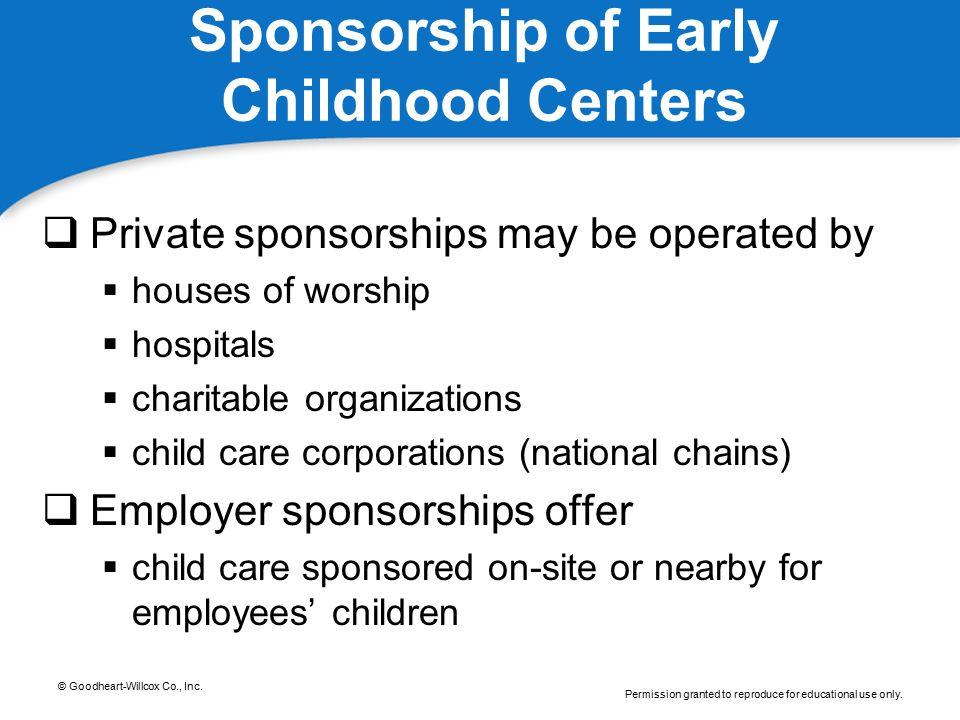 Sponsorship of Early Childhood Centers