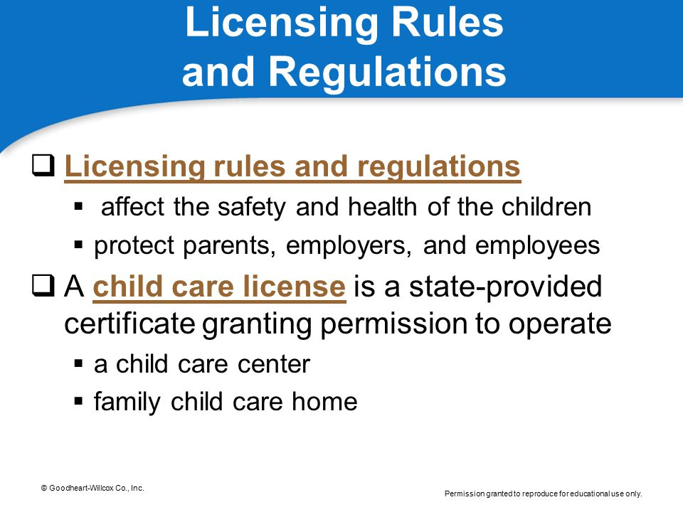 Licensing Rules and Regulations