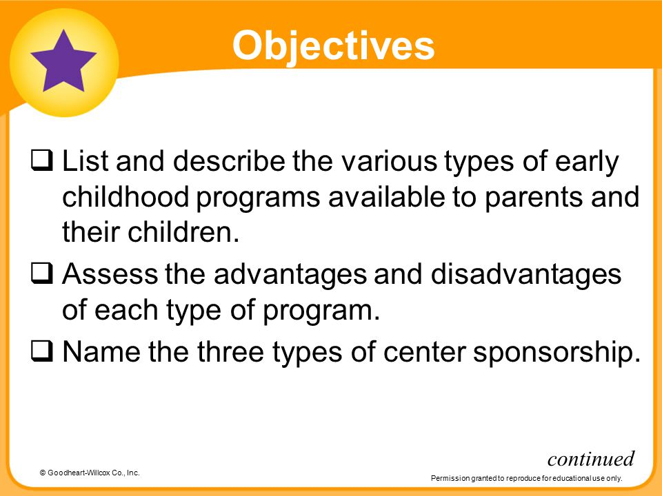 Objectives List and describe the various types of early childhood programs available to parents and their children.