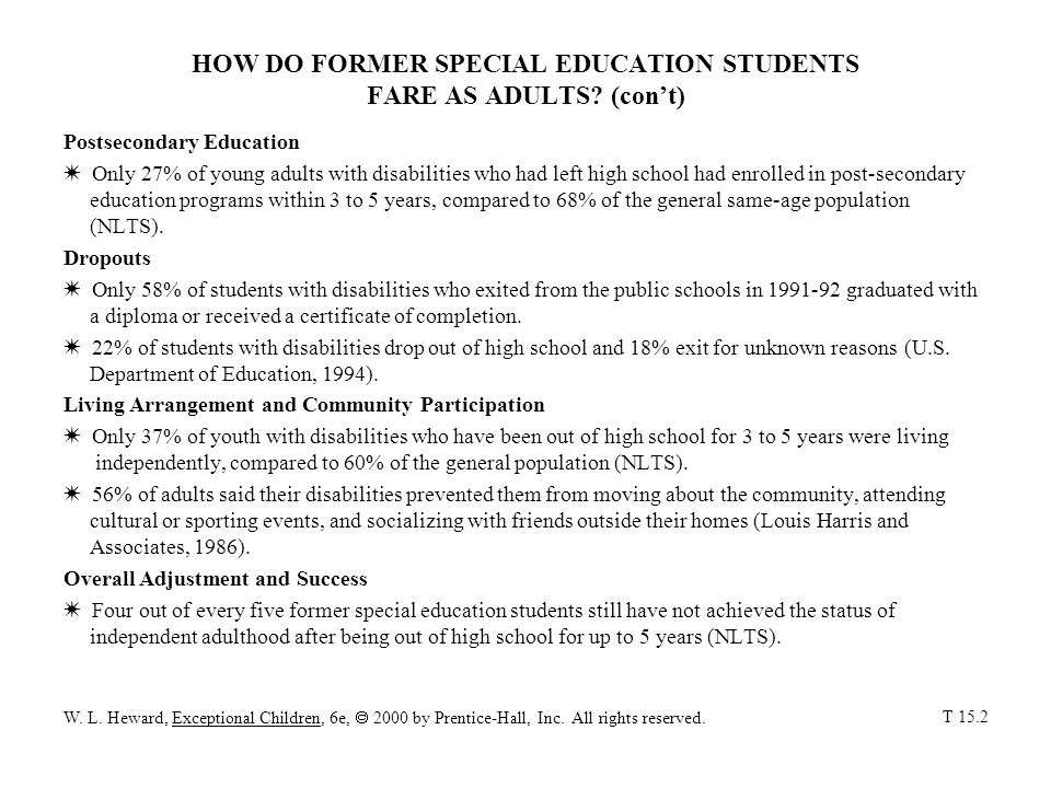HOW DO FORMER SPECIAL EDUCATION STUDENTS FARE AS ADULTS (con't)