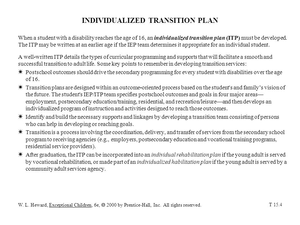 INDIVIDUALIZED TRANSITION PLAN