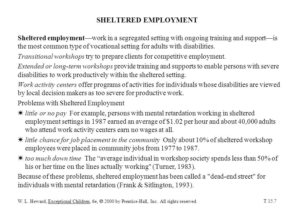 SHELTERED EMPLOYMENT