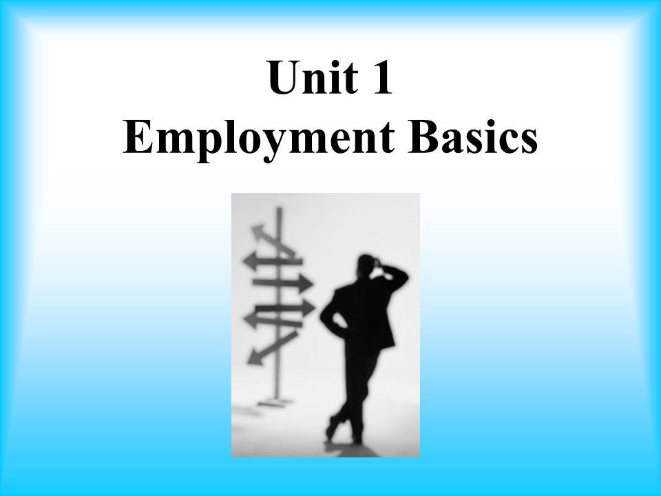 Unit 1 Employment Basics