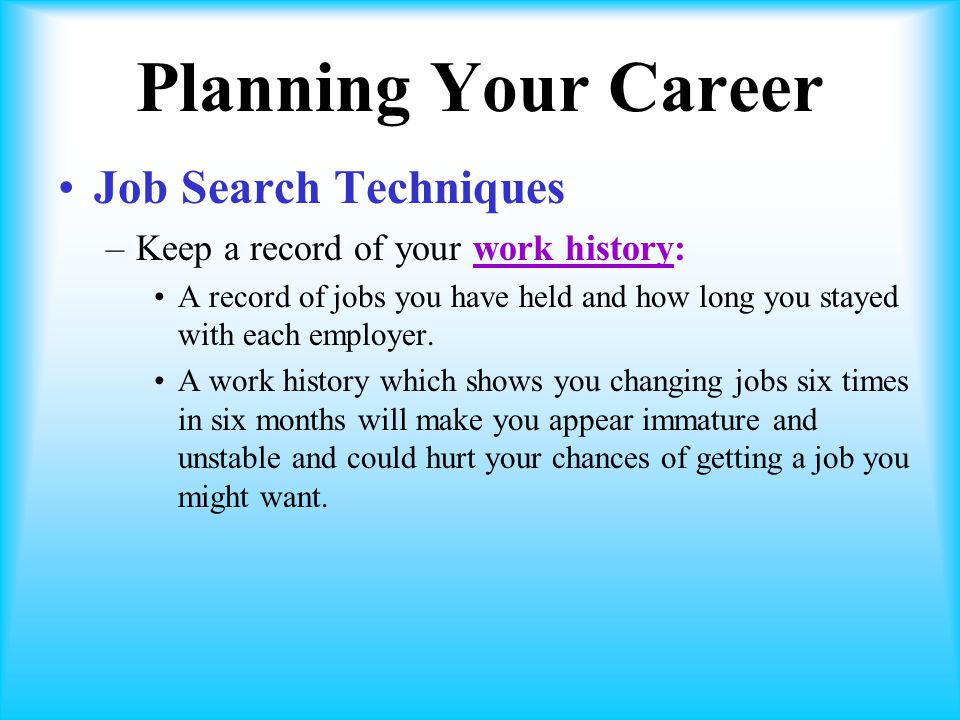 Planning Your Career Job Search Techniques