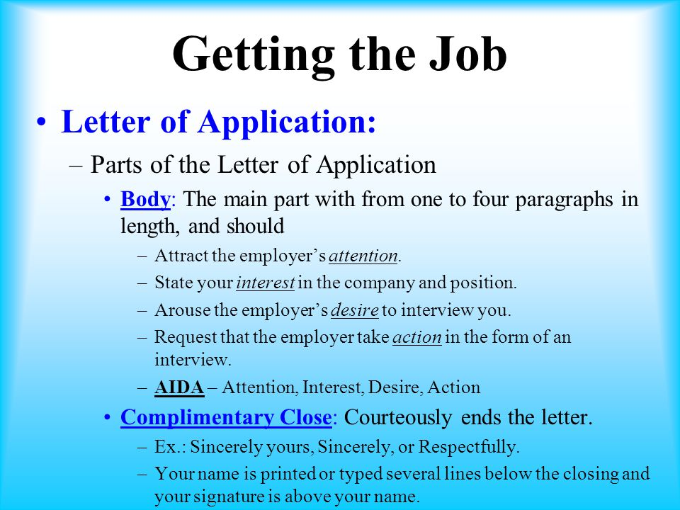 Getting the Job Letter of Application: