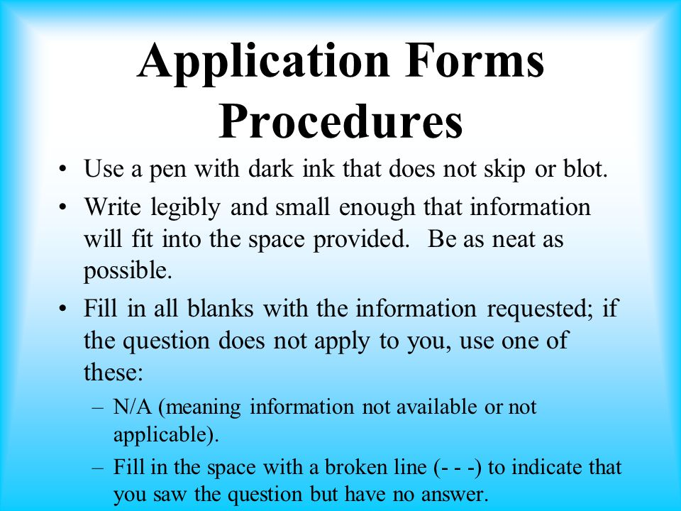 Application Forms Procedures