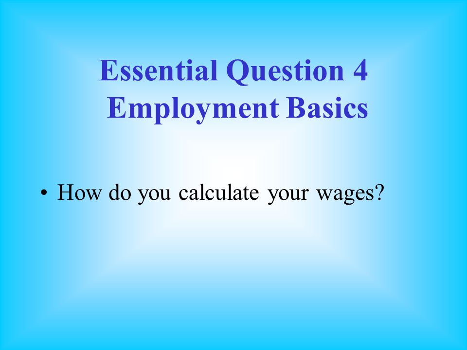 Essential Question 4 Employment Basics