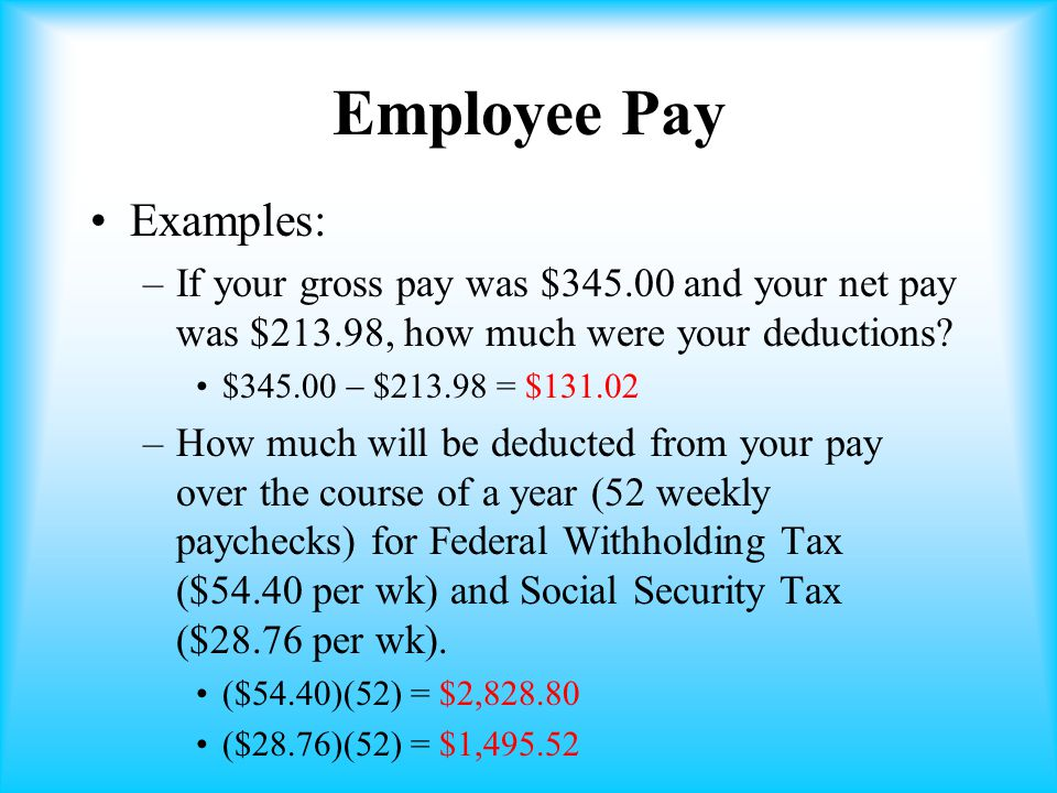 Employee Pay Examples: