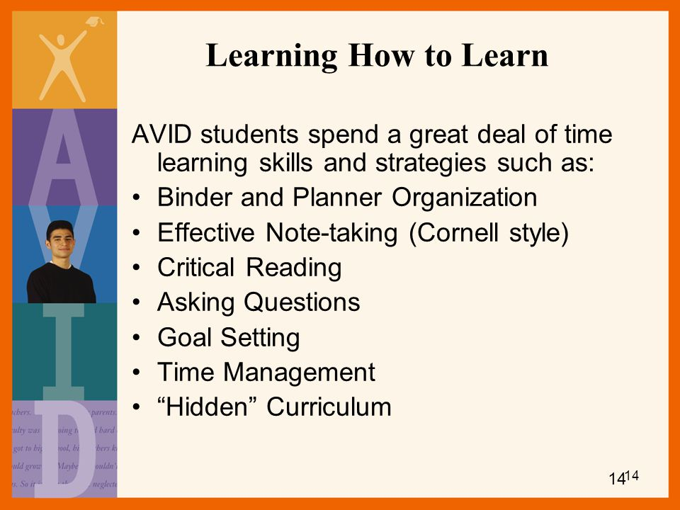 Learning How to Learn AVID students spend a great deal of time learning skills and strategies such as: