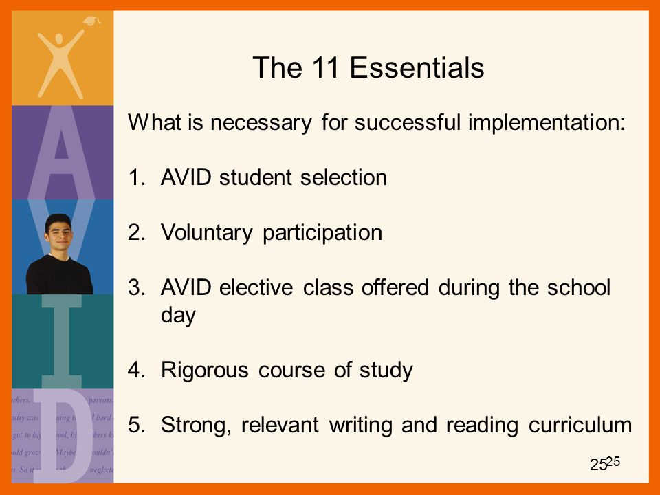 The 11 Essentials What is necessary for successful implementation: