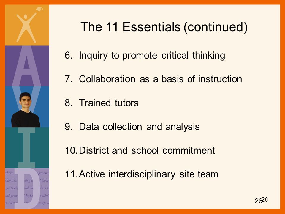 The 11 Essentials (continued)