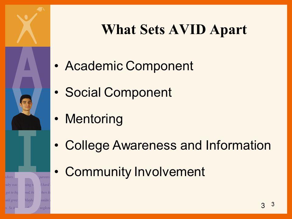 What Sets AVID Apart Academic Component Social Component Mentoring