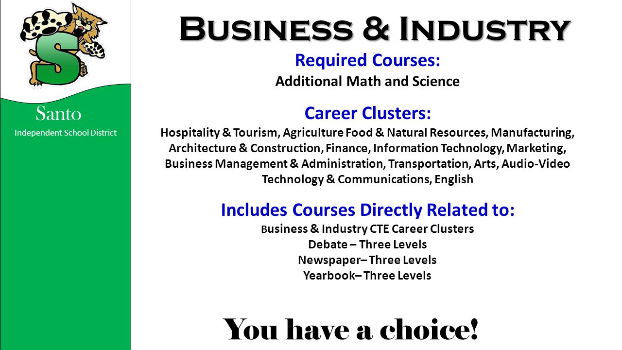 Business & Industry Required Courses: Career Clusters: