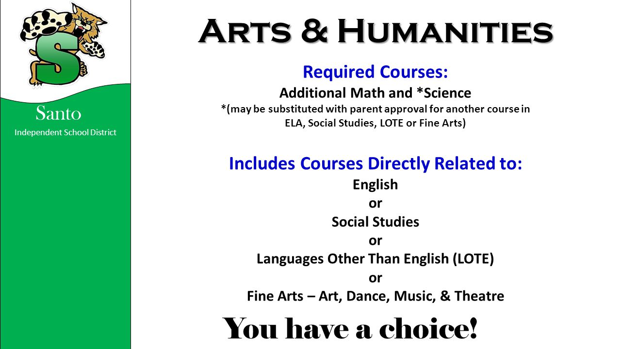Arts & Humanities Required Courses: