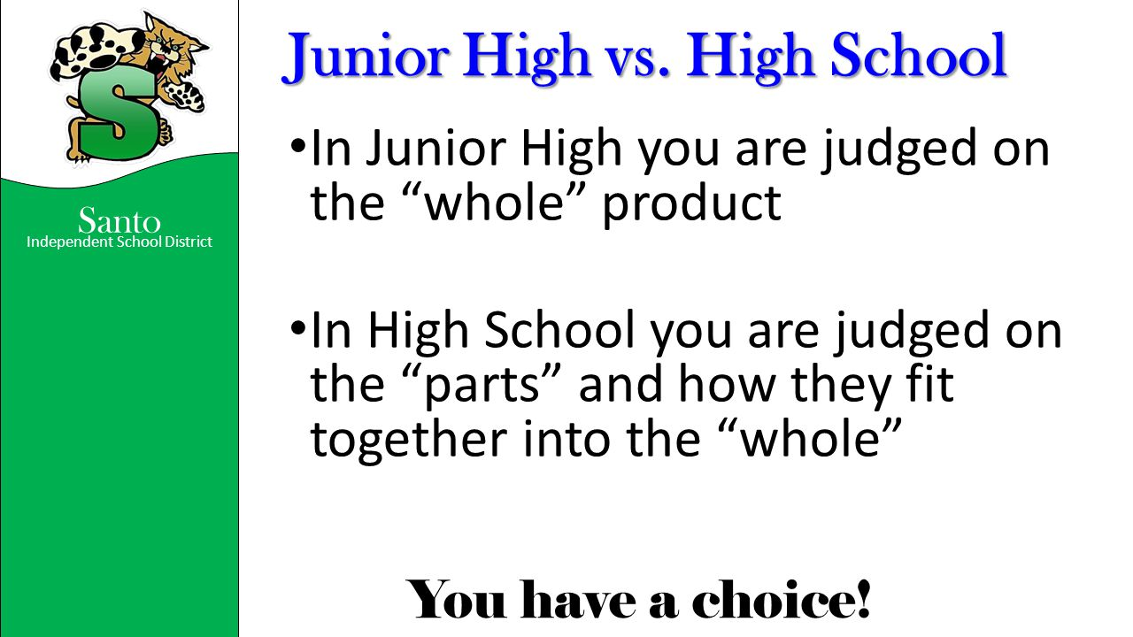 Junior High vs. High School