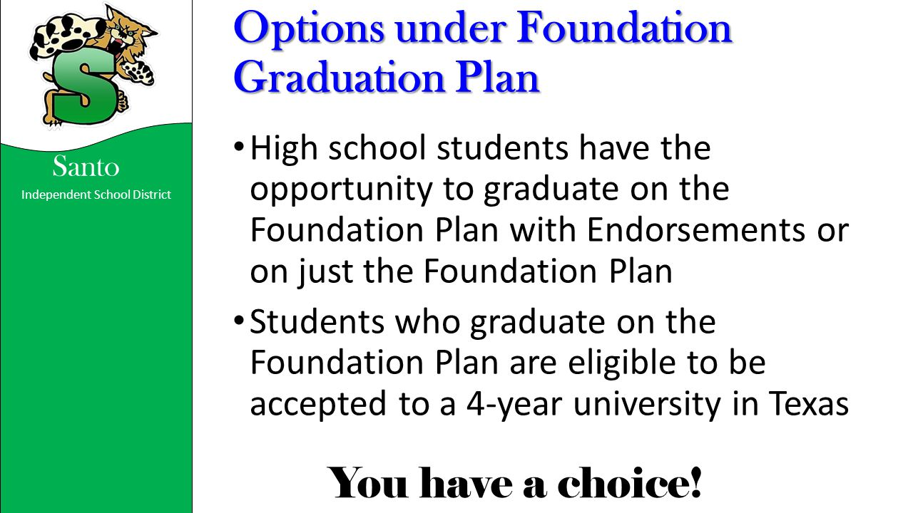 Options under Foundation Graduation Plan