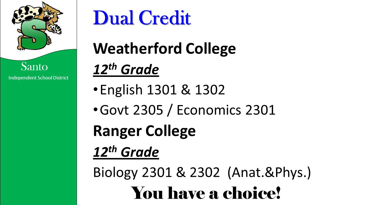 Dual Credit Weatherford College Ranger College 12th Grade