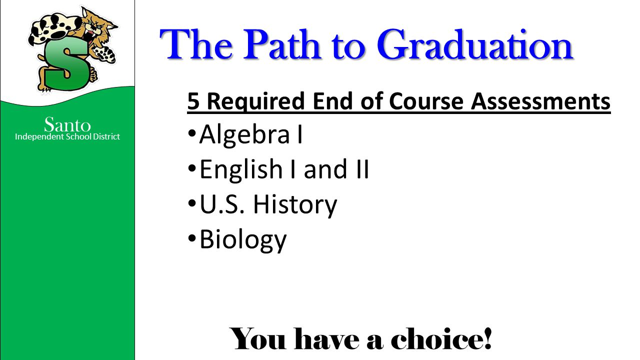 The Path to Graduation Algebra I English I and II U.S. History Biology