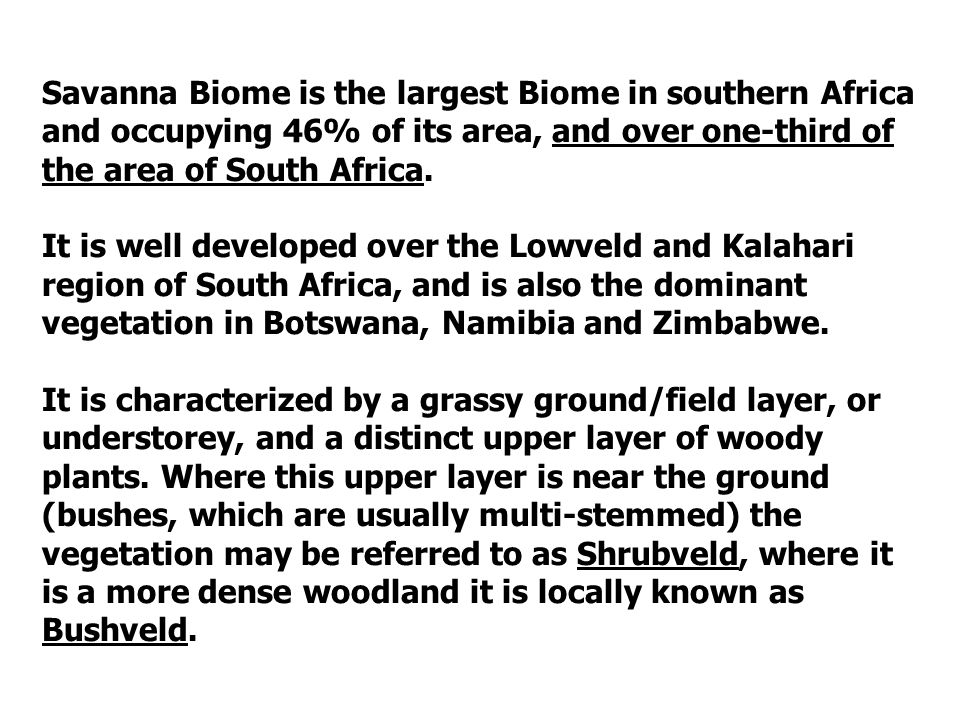 Savanna Biome is the largest Biome in southern Africa and occupying 46% of its area, and over one-third of the area of South Africa.