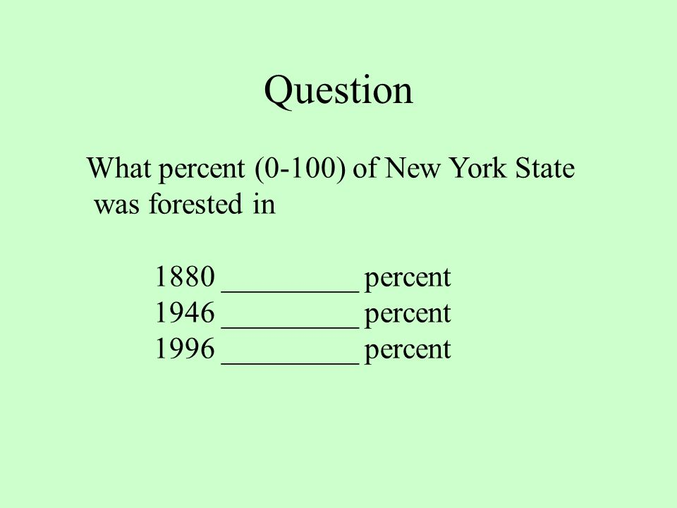 Question What percent (0-100) of New York State was forested in