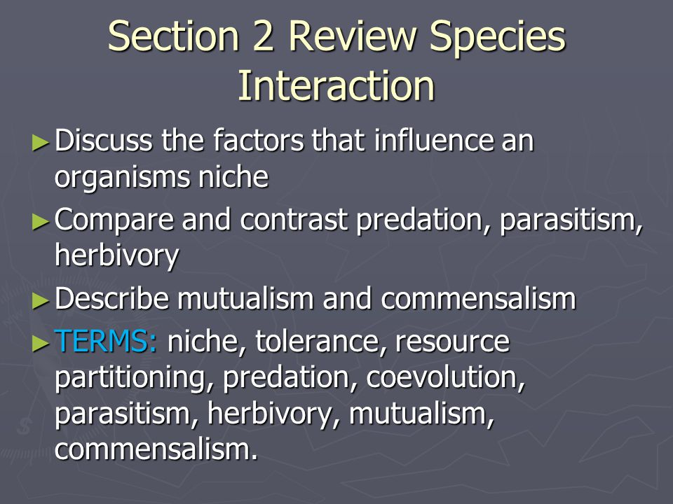 Section 2 Review Species Interaction