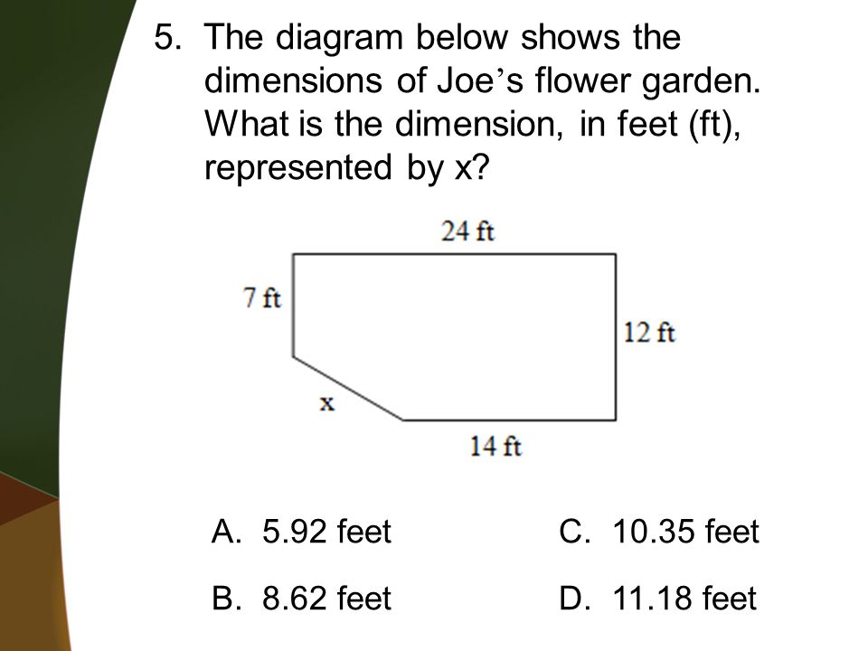 5. The diagram below shows the dimensions of Joe's flower garden.