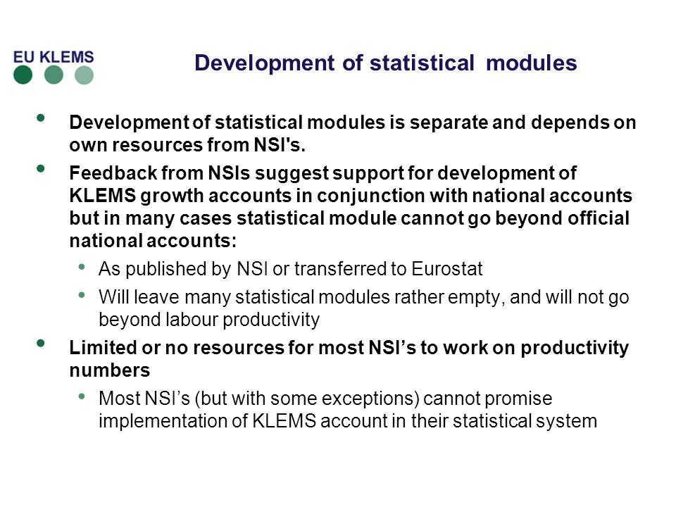 Development of statistical modules