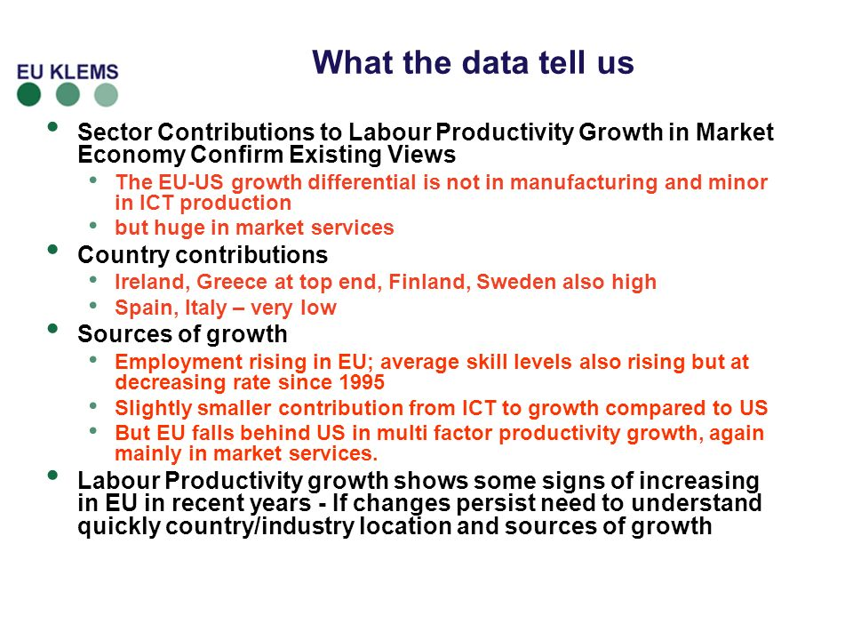 What the data tell us Sector Contributions to Labour Productivity Growth in Market Economy Confirm Existing Views.