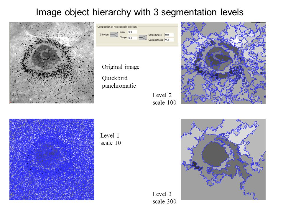Image object hierarchy with 3 segmentation levels