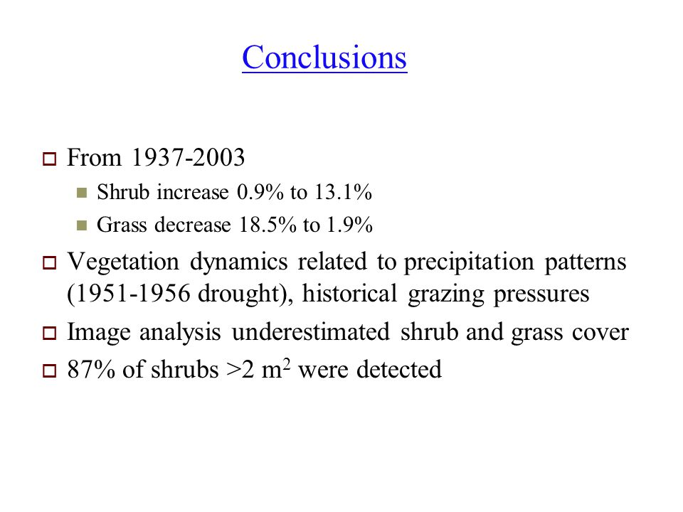 Conclusions From 1937-2003. Shrub increase 0.9% to 13.1% Grass decrease 18.5% to 1.9%