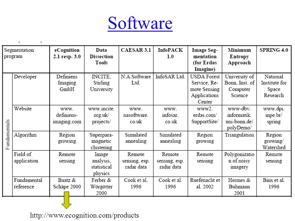 Software http://www.ecognition.com/products