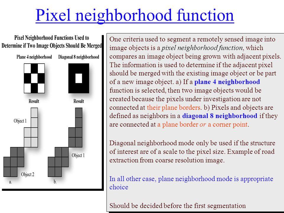 Pixel neighborhood function
