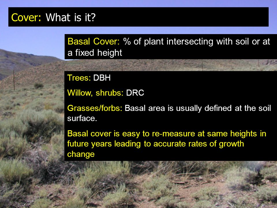 Cover: What is it Basal Cover: % of plant intersecting with soil or at a fixed height. Trees: DBH.