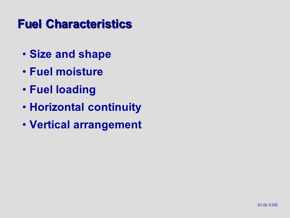 Fuel Characteristics Size and shape Fuel moisture Fuel loading