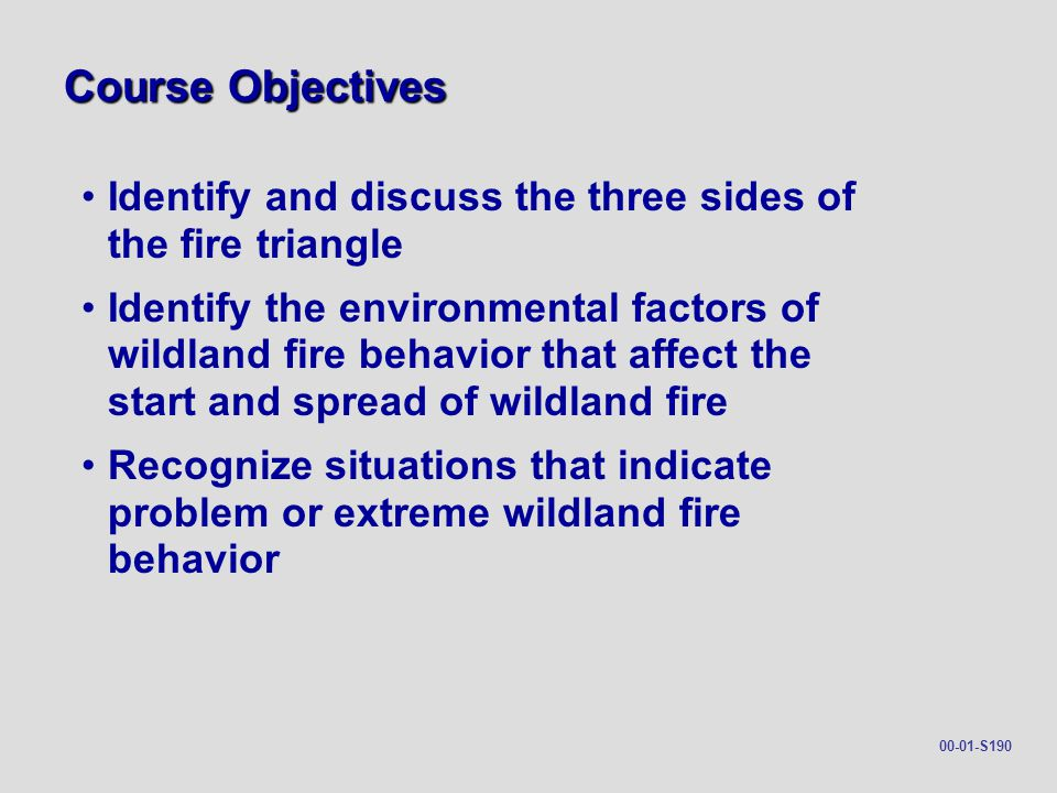 Course Objectives Identify and discuss the three sides of the fire triangle.