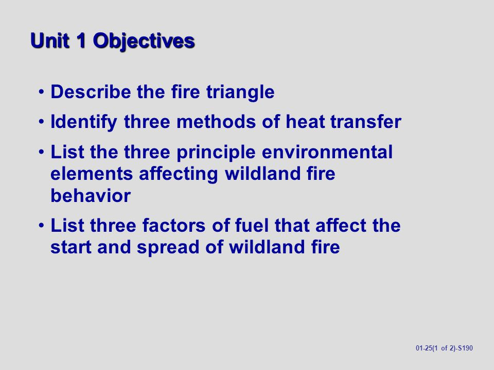 Unit 1 Objectives Describe the fire triangle