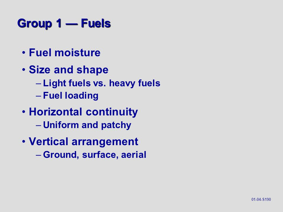 Group 1 — Fuels Fuel moisture Size and shape Horizontal continuity
