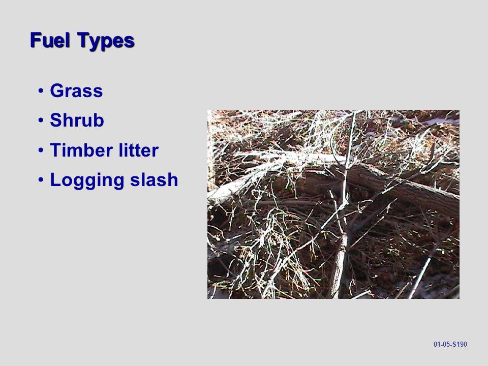 Fuel Types Grass Shrub Timber litter Logging slash 01-05-S190