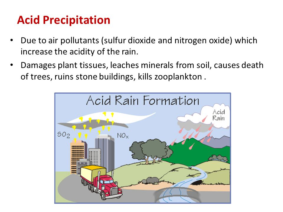 Acid Precipitation Due to air pollutants (sulfur dioxide and nitrogen oxide) which increase the acidity of the rain.