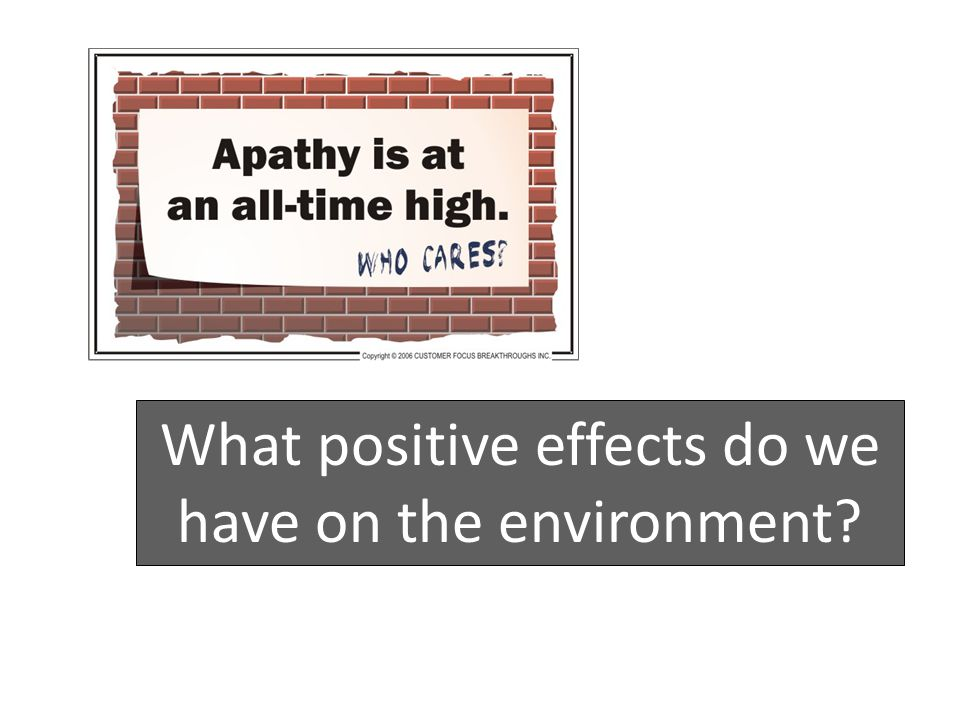 What positive effects do we have on the environment