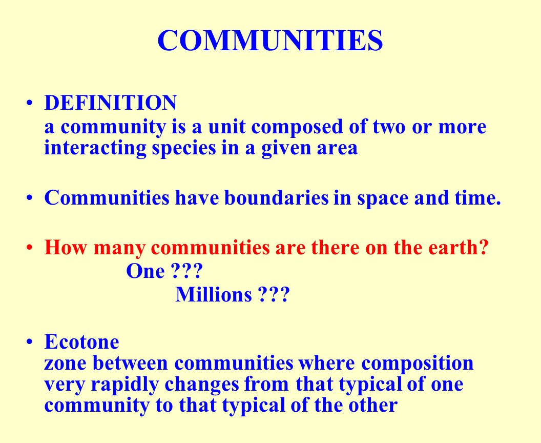 COMMUNITIES DEFINITION