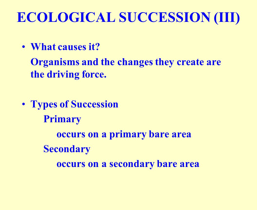 ECOLOGICAL SUCCESSION (III)