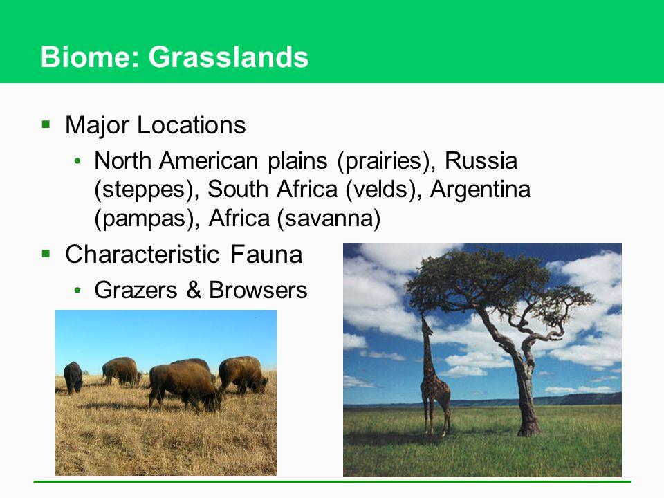 Biome: Grasslands Major Locations Characteristic Fauna