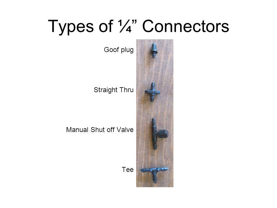 Types of ¼ Connectors Goof plug Straight Thru Manual Shut off Valve