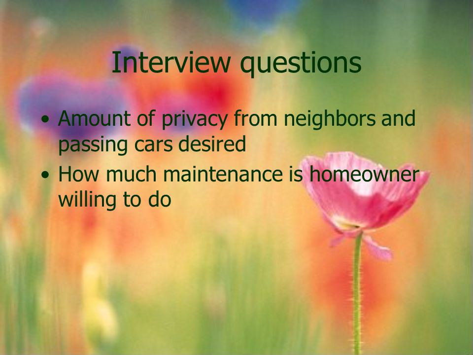 Interview questions Amount of privacy from neighbors and passing cars desired.