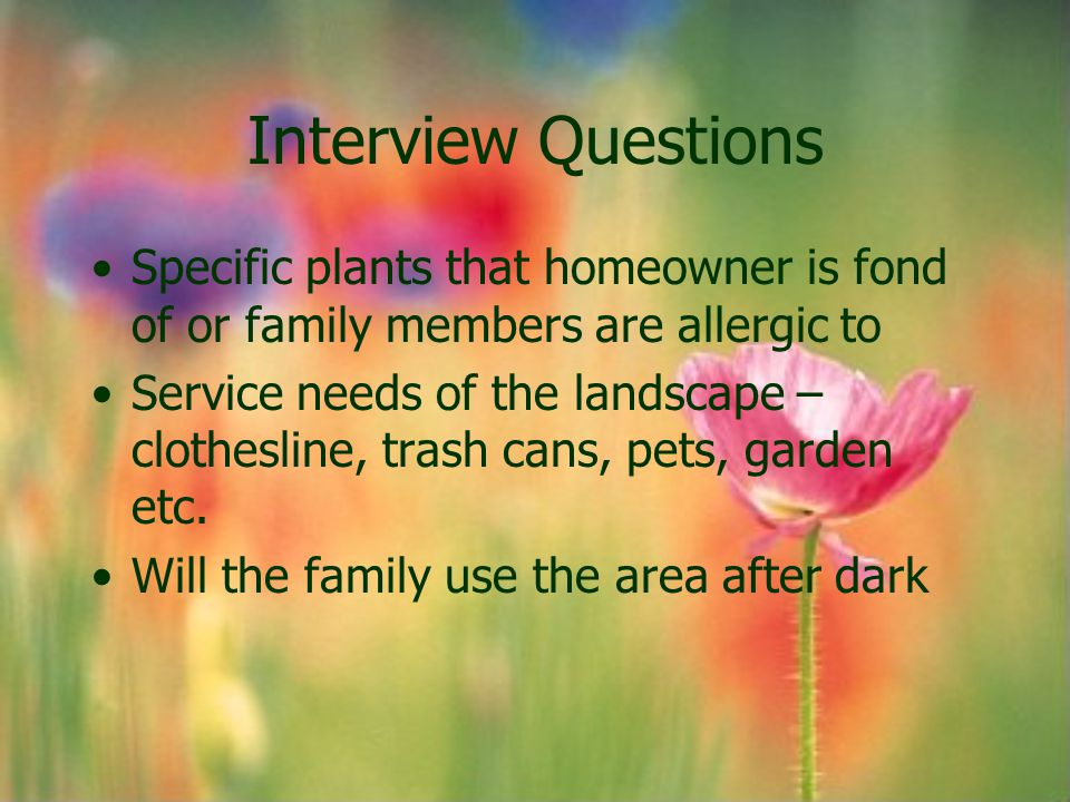 Interview Questions Specific plants that homeowner is fond of or family members are allergic to.