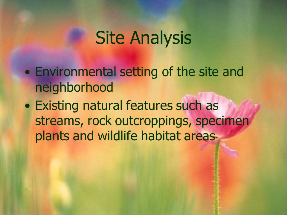 Site Analysis Environmental setting of the site and neighborhood
