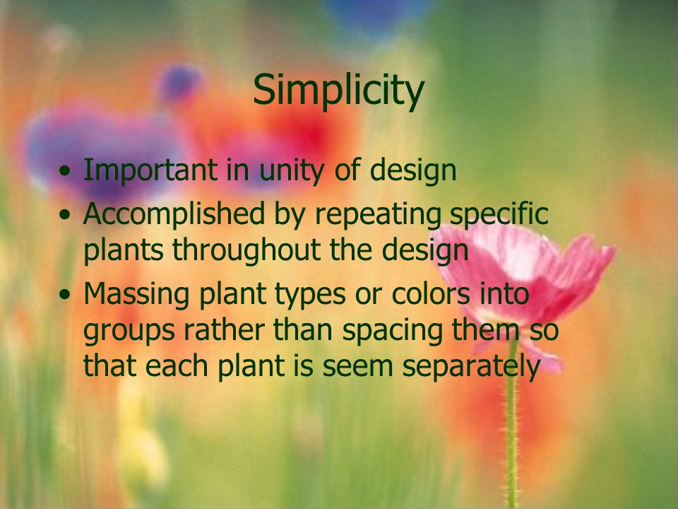 Simplicity Important in unity of design