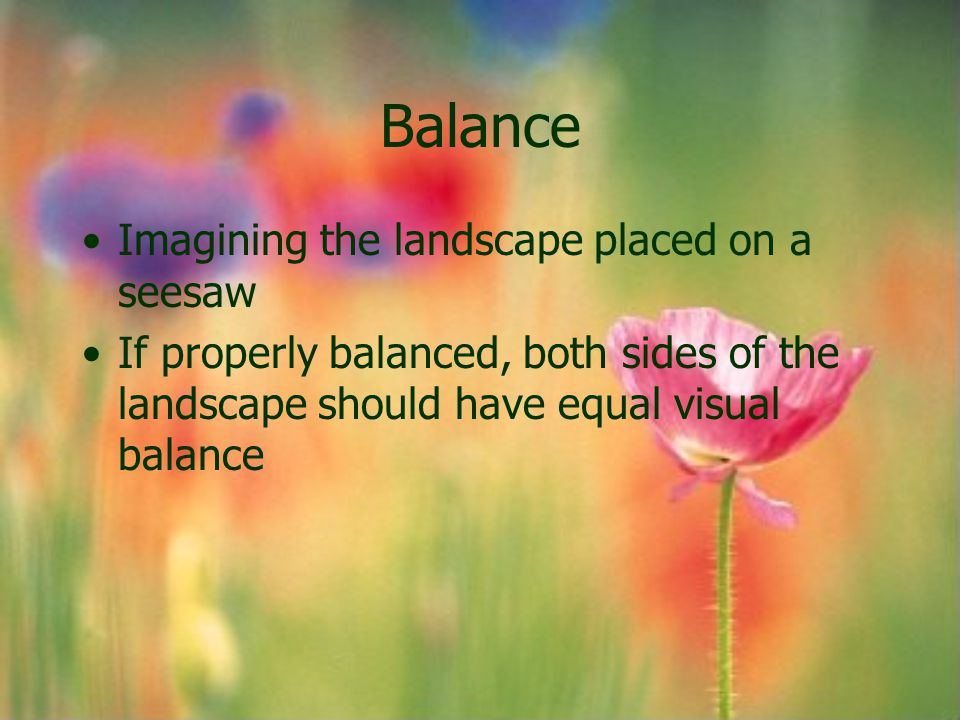Balance Imagining the landscape placed on a seesaw