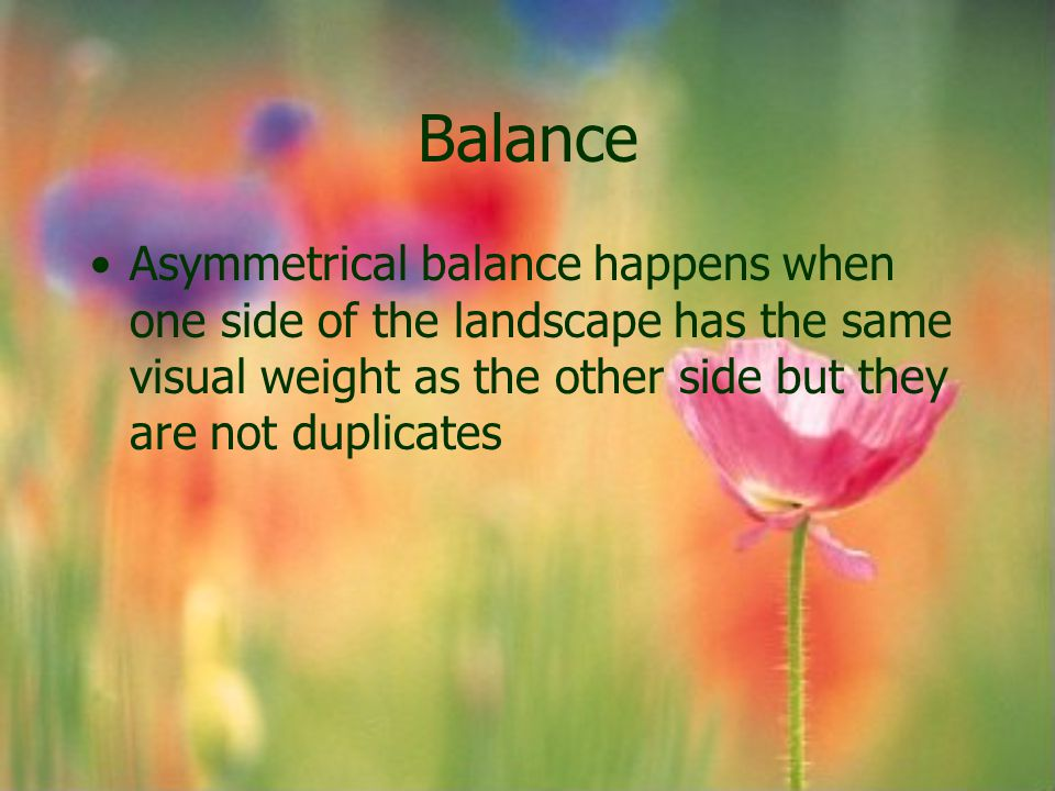 Balance Asymmetrical balance happens when one side of the landscape has the same visual weight as the other side but they are not duplicates.